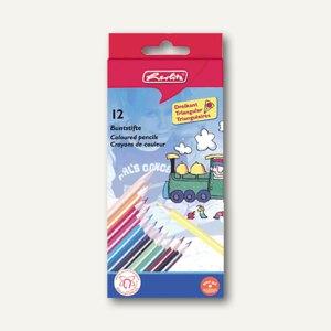 Herlitz Dreikantbuntstifte lackiert, 12 Stifte sortiert, 10412021