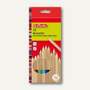 Herlitz Buntstifte Zedernholz, sechskantig, 12 Stifte sortiert, 10787000